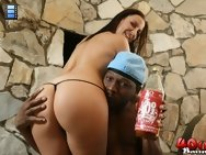 Hot brunette Maria fucks a black guy outside